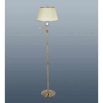 Belfry Swing Arm Floor Lamp In Antique Brass C W Parchment