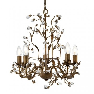 ALMANDITE - 5 LIGHT BROWN GOLD CEILING WITH CRYSTAL DRESSING