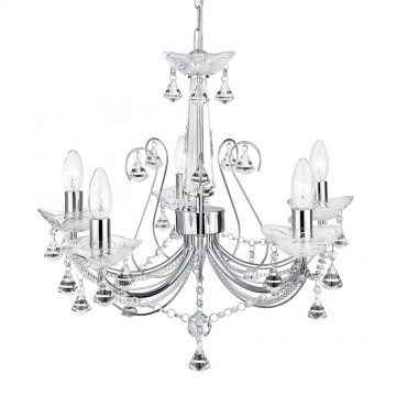 5 LIGHT CRYSTAL CHANDELIER WITH CLEAR CRYSTAL COLUMN AND CRYSTAL BUTTONS