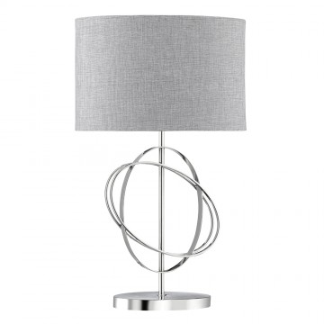 RINGS CHROME TABLE LAMP WITH SILVER LINEN DRUM SHADE AND WHITE INLINE SWITCH