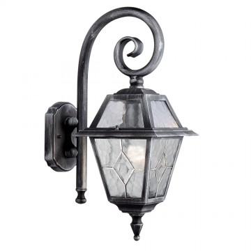 GENOA 1 LIGHT OUTDOOR WALL BRACEKT - BLACK/SILVER. IP23