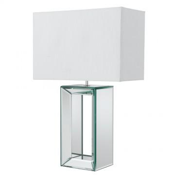 TABLE LAMP - MIRROR TALL TABLE LAMP-WHITE FAUX SILK SHADE