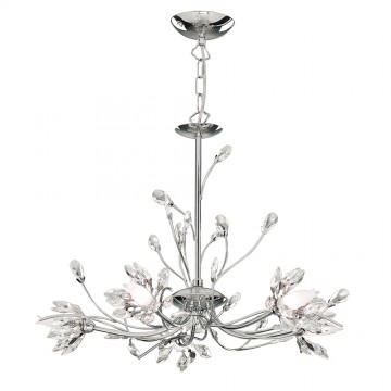 HIBISCUS - 5 LIGHT CHROME FITTING WITH FLOWER GLASS
