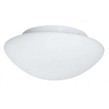 BATHROOM LIGHT - WHITE GLASS FLUSH FITTING (28CM)