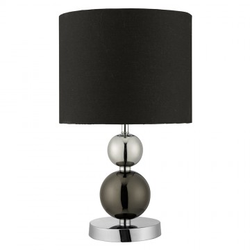 TABLE LAMP - CHROME AND BLACK BALL WITH DRUM SHADE