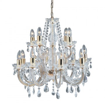 MARIE THERESE - 12 LIGHT CRYSTAL AND POLISHED BRASS CHANDELEIR