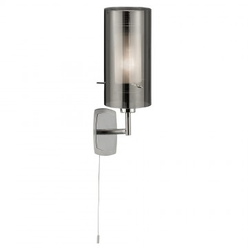 DUO 2 - 1 LIGHT SMOKEY OUTER / CLEAR INNER GLASS WALL LIGHT