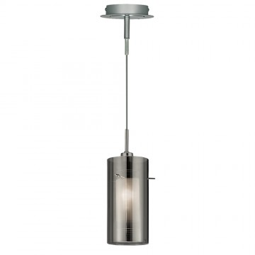 DUO 2 - 1 LIGHT SMOKEY OUTER / CLEAR INNER GLASS PENDANT