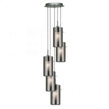 DUO 2 - 5 LIGHT SMOKEY OUTER / CLEAR INNER GLASS MULIT-DROP CEILING
