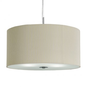 DRUM PLEAT PENDANT - 3 LIGHT CREAM DRUM PENDANT  WITH FROSTED GLASS DIFFUSER