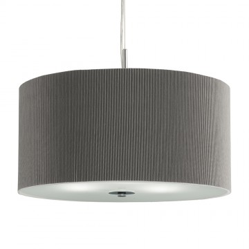 DRUM PLEAT PENDANT - 3 LIGHT SILVER DRUM PENDANT WITH FROSTED GLASS DIFFUSER