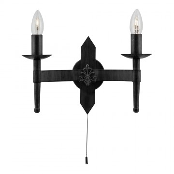 CARTWHEEL - GOTHIC 2 LIGHT MATT BLACK WALL LAMP