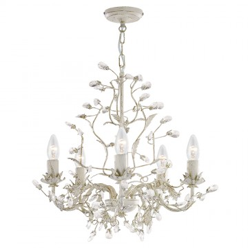ALMANDITE - 5 LIGHT CREAM GOLD FITTING COMPLETE WITH CRYSTAL DRESS