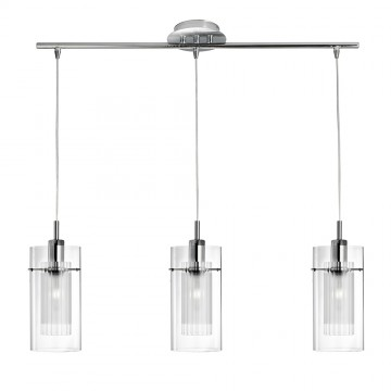 DUO 1 - CHROME 3 LIGHT BAR FITTING - DOUBLE GLASS