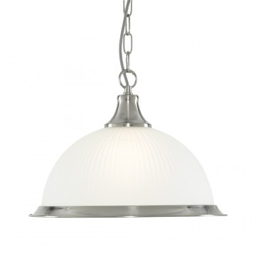 AMERICAN DINER - 1 LIGHT PENDANT SATIN SILVER DINER OPAQUE GLASS