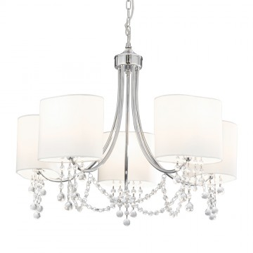 NINA - CHROME/CLEAR BEADS 5 LIGHT FITTING - WHITE SHADES