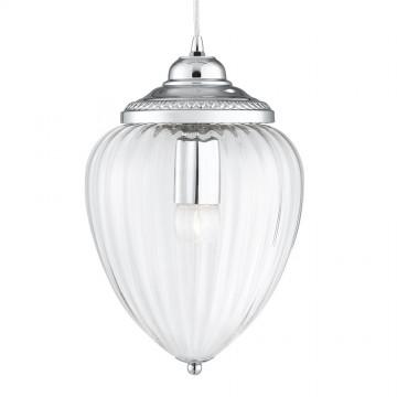 PENDANTS - CHROME 1 LIGHT CLEAR RIBBED GLASS LANTERN