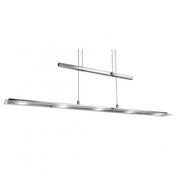 "RISE AND FALL - LED 5 LIGHT CHROME RECTANGLE BARLIGHT  WITH CLEAR & FROSTED GLASS. ""YOYO"" ADJUSTABLE TO DIFFERENT HEIGHTS"