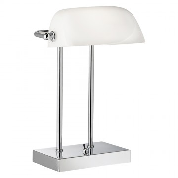 BANKERS LAMP - CHROME WITH WHITE GLASS SHADE