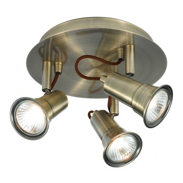 EROS - 3 LIGHT ANTIQUE BRASS SPOTLIGHT DISC - GU10