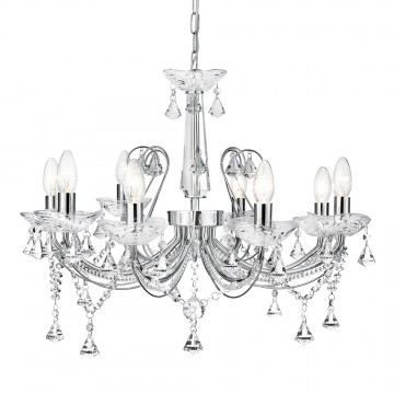 LAFAYETTE - 8 LIGHT CRYSTAL CHANDELIER WITH CLEAR CRYSTAL COLUMN AND CRYSTAL  BUTTONS