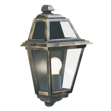 NEW ORLEANS - BLACK/GOLD OUTDOOR WALL LIGHT. IP44