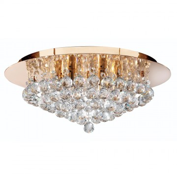 HANNA - 6 LIGHT GOLD FLUSH FITTING WITH CLEAR CRYSTAL BALLS
