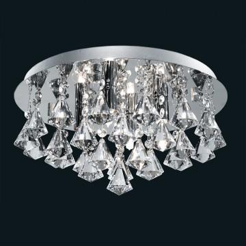 HANNA - 4 LIGHT CHROME FLUSH FITTING COMPLETE WITH DIAMOND SHAPE CRYSTALS