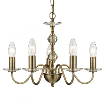 MONARCH - 5 LIGHT ANTIQUE BRASS CEILING LIGHT WITH CLEAR GLASS INSERTS AND SCONCES