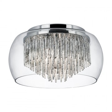 CURVA - FLUSH CEILING 4 LIGHT WITH CLEAR GLASS SHADE AND SPIRAL TUBES